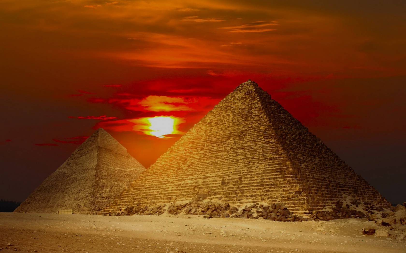 1680x1050 Giza Pyramids Egypt Red Sunset