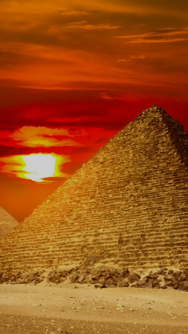 640x1136 Giza Pyramids Egypt Red Sunset