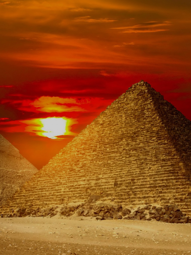 768x1024 Giza Pyramids Egypt Red Sunset