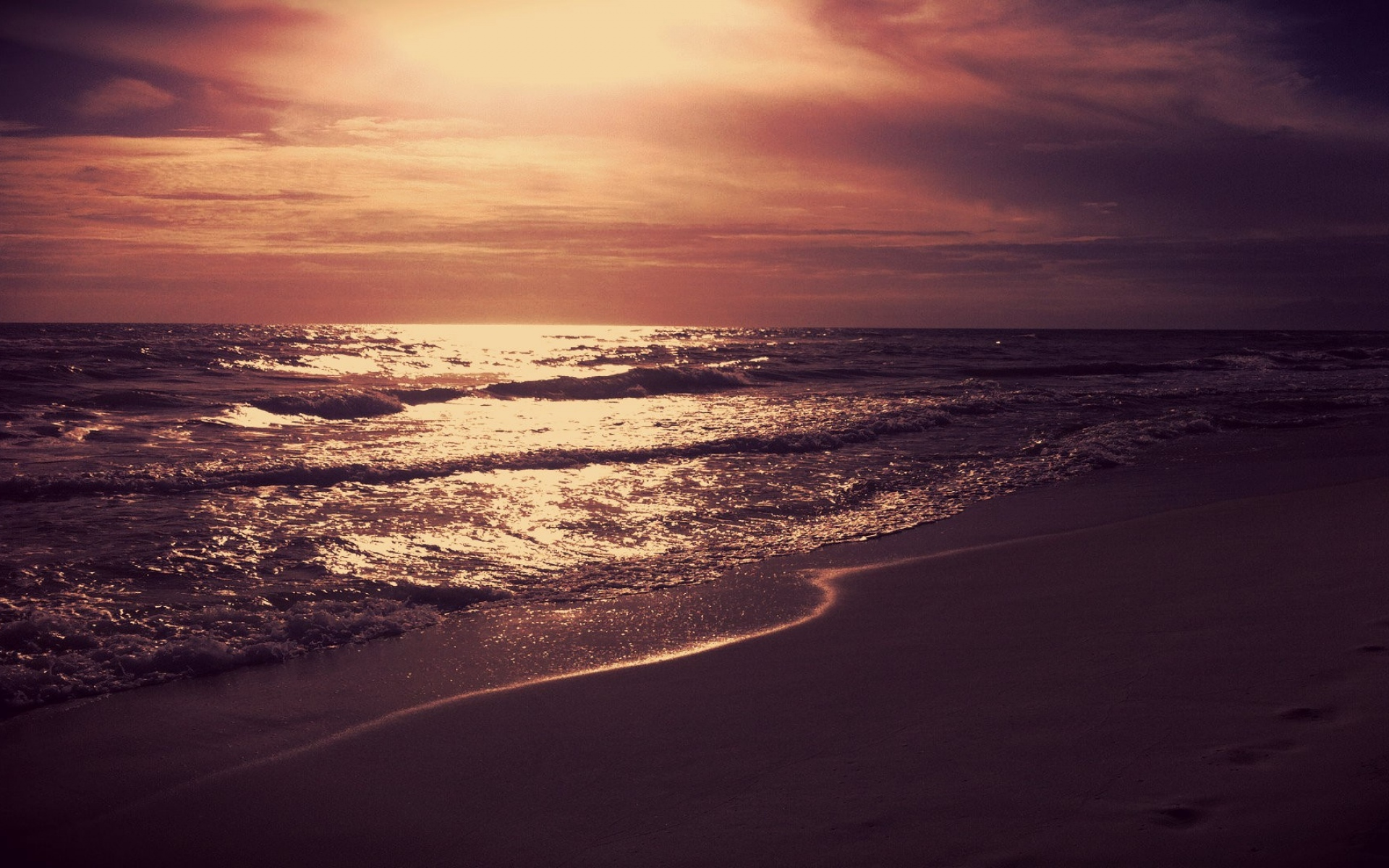 gleaming ocean red sunset wallpapers