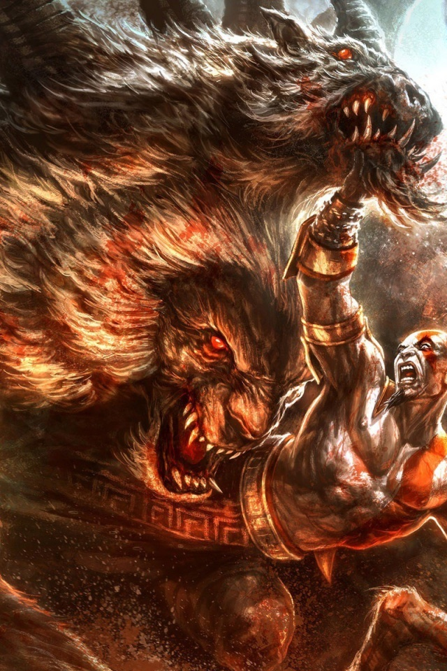 640x960 God Of War 3  fight, games