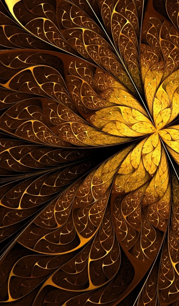 600x1024 Golden Lines Pattern Fractal