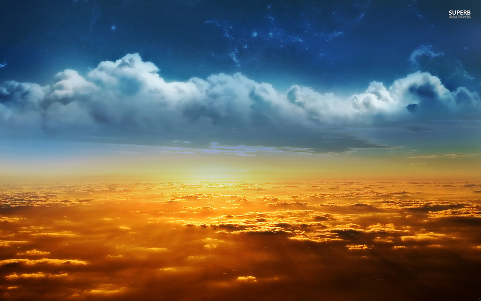 golden sunrise over clouds wallpapers