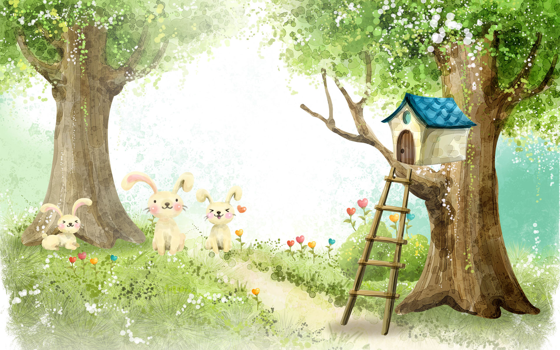 Grass Rabbits Trees Bird House wallpapers | Grass Rabbits ...