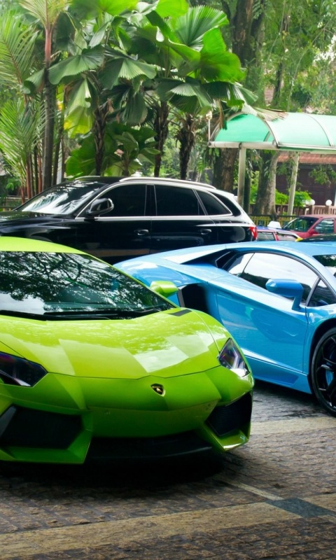 480x800 Green And Blue Lamborghini Supercars Galaxy S2 Wallpaper