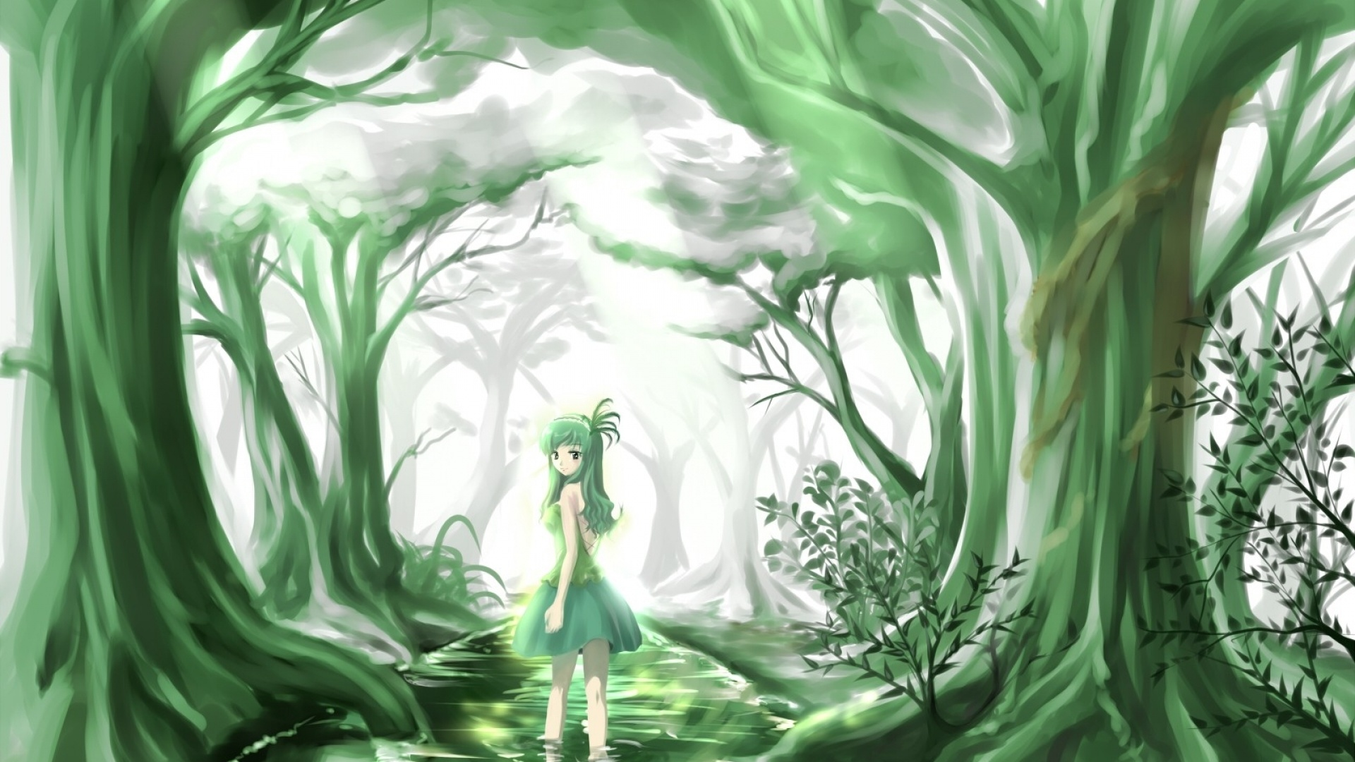 1920x1080 Green Anime Beauty Forest Desktop Pc And Mac