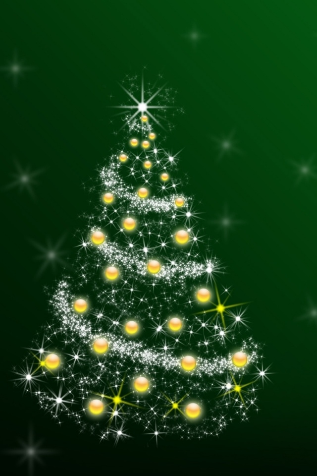 640x960 green christmas tree iphone 4 wallpaper