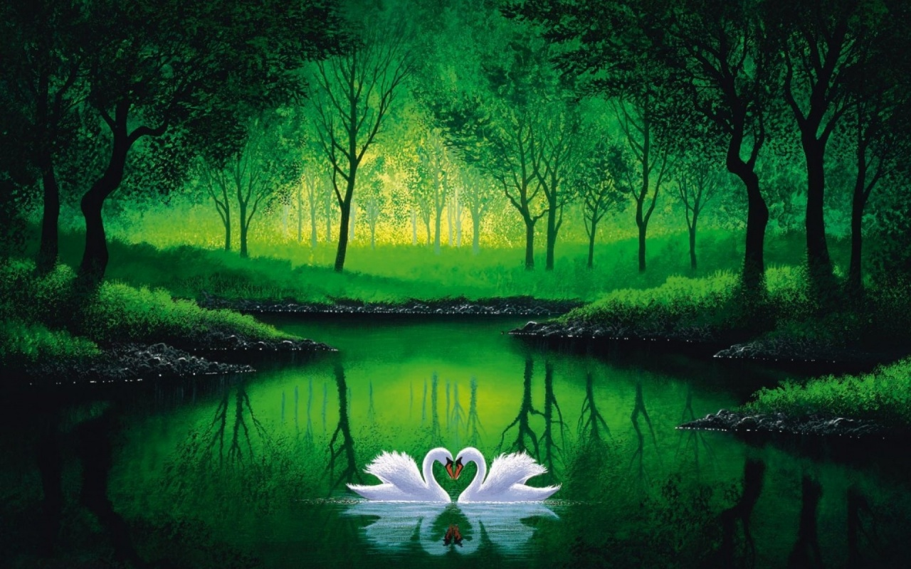 1280x800 Green Forest Pond Swans Couple