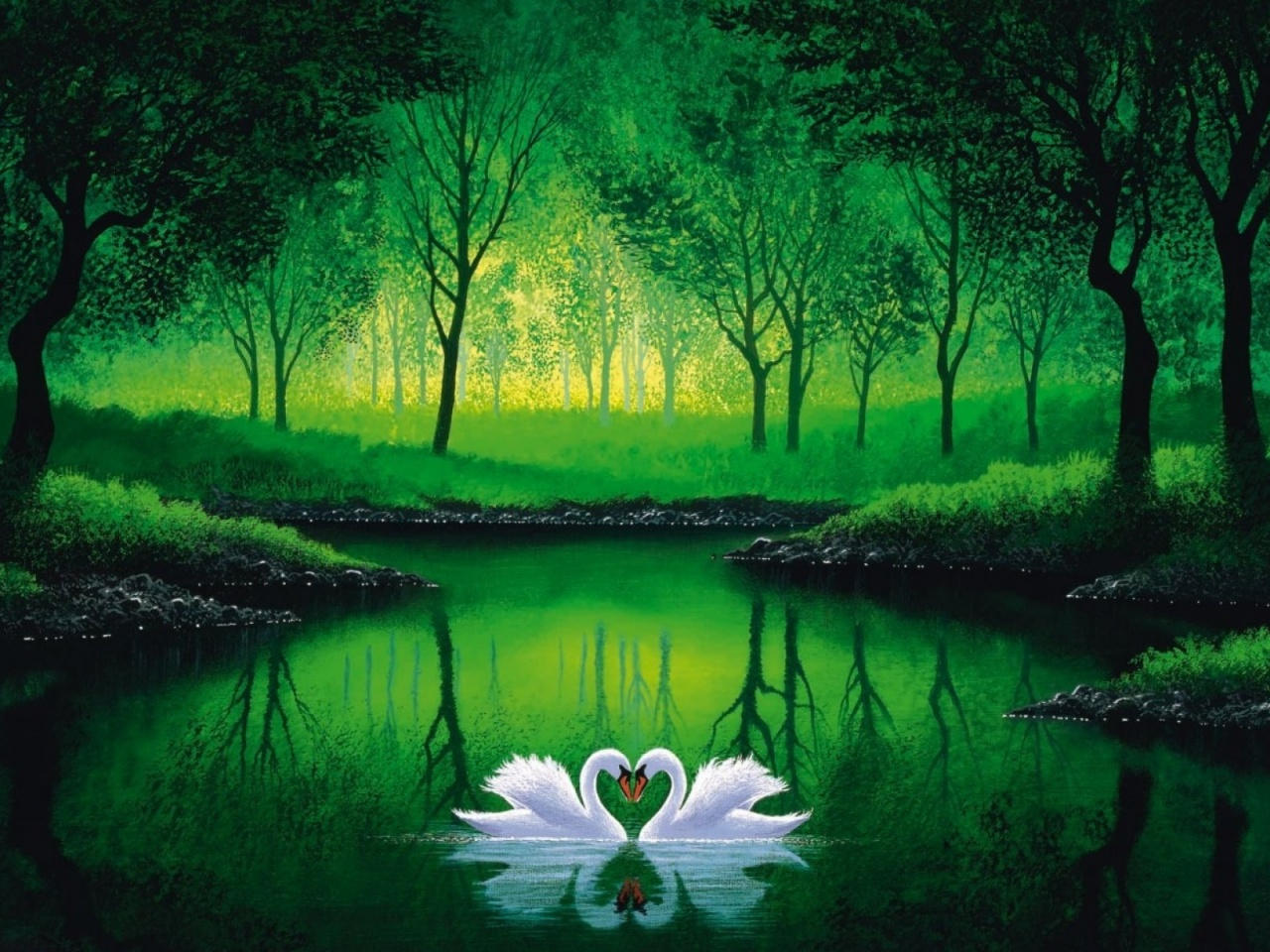 1280x720 Green Forest Pond Swans Couple
