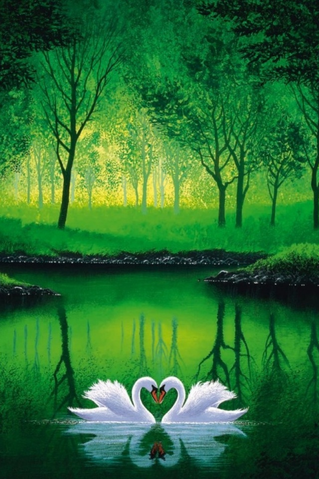 640x960 Green Forest Pond Swans Couple