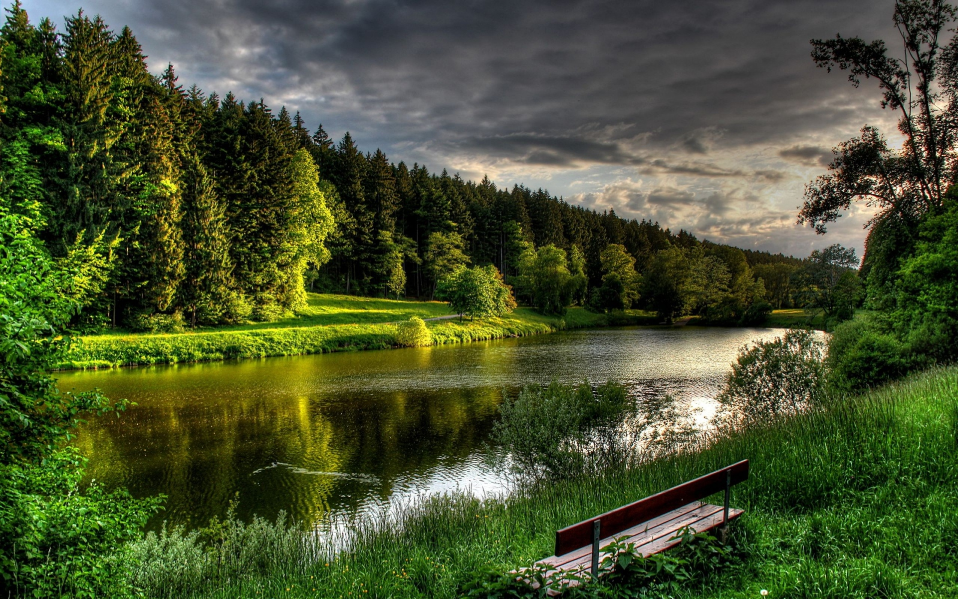 Misty Green Forest Nature River Beautiful 1ziw: Green Forest River Bench Grass Wallpapers