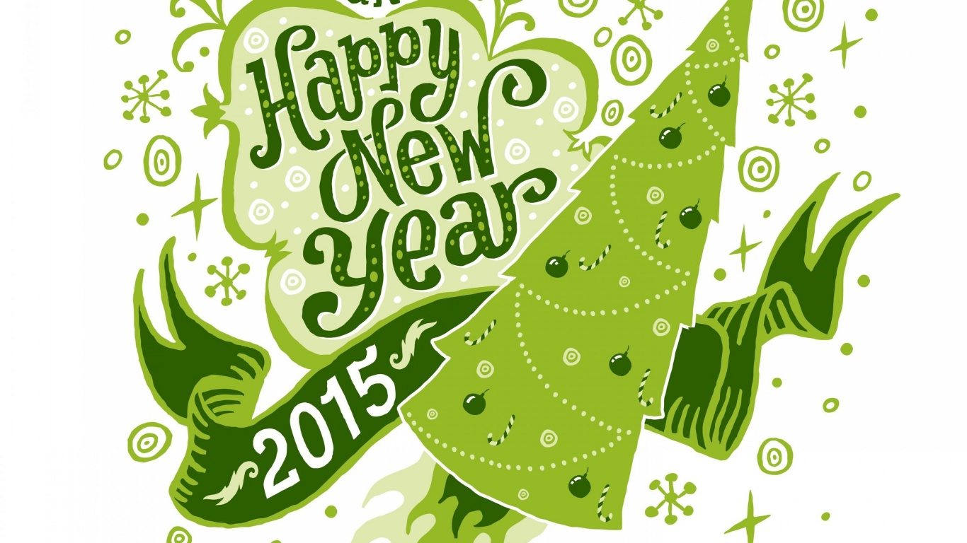 1366x768 green happy new year desktop pc and mac wallpaper