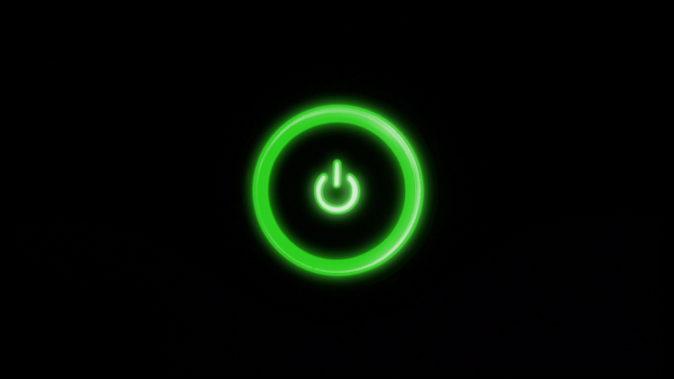 1366x768 Green Power Button Desktop PC And Mac Wallpaper