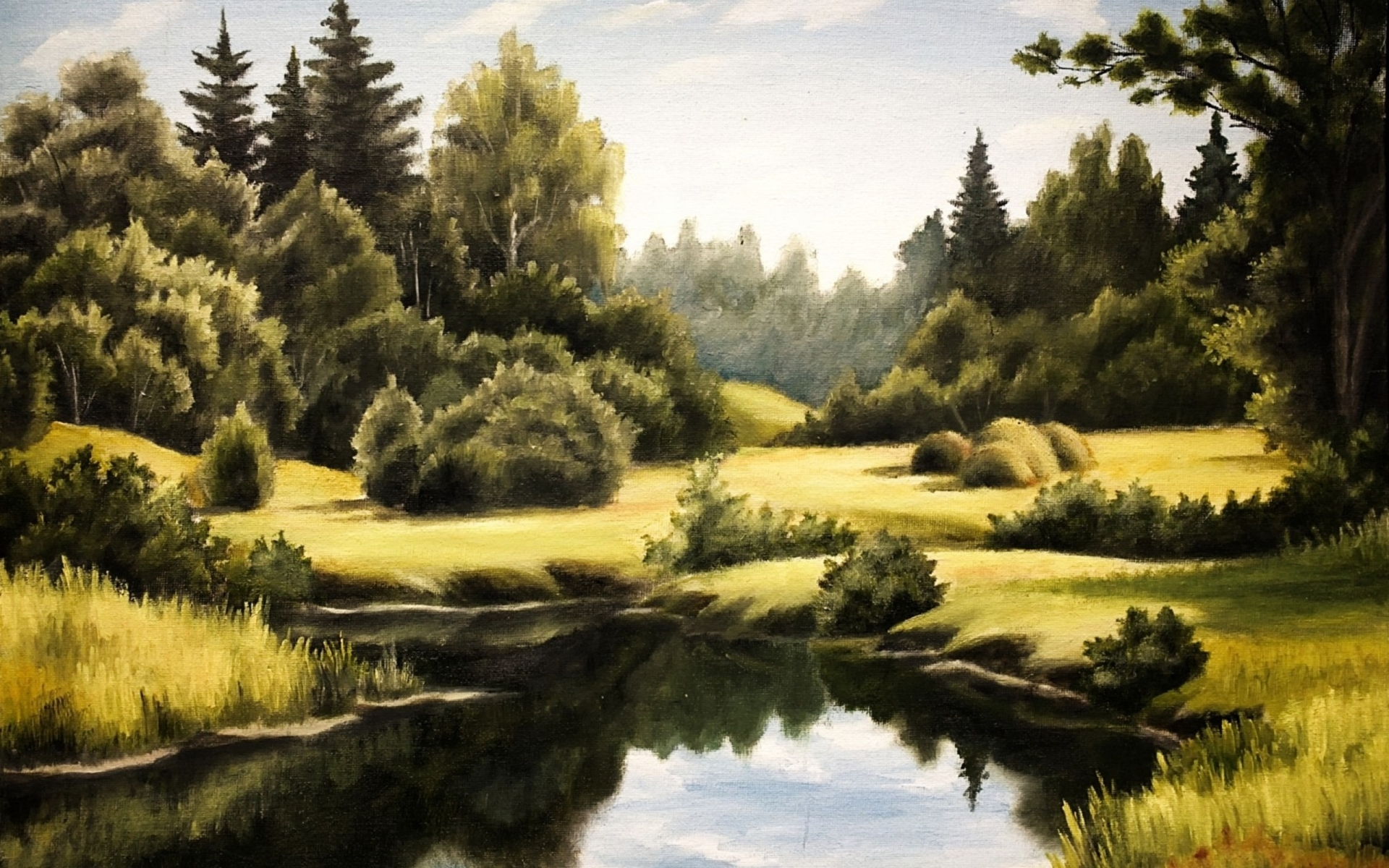 green trees pond yellow grass wallpapers green trees