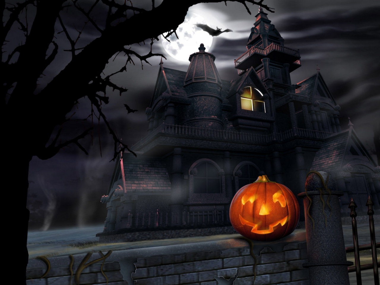 1280x720 Halloween  house, haunted