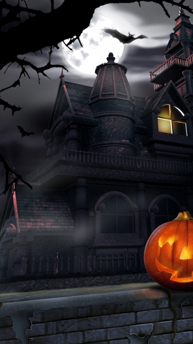640x1136 Halloween  house, haunted