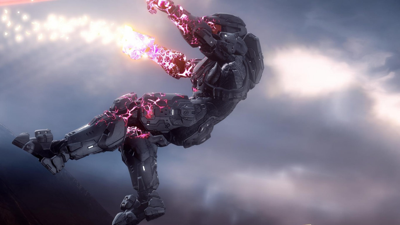 1366x768 Halo 4 Soldier desktop PC and Mac wallpaper