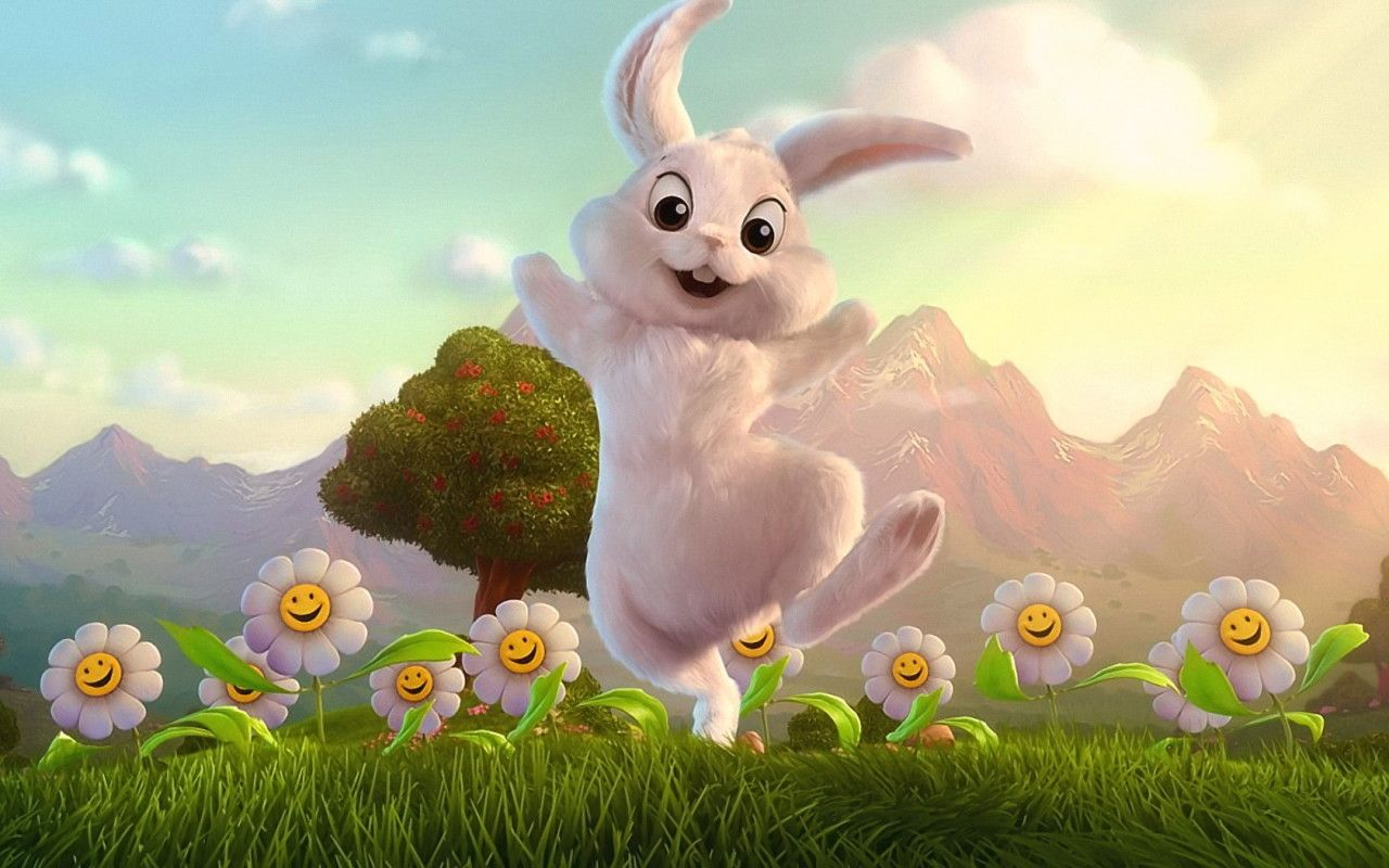 1280x800 Happy bunny and flowers desktop wallpapers and stock photos