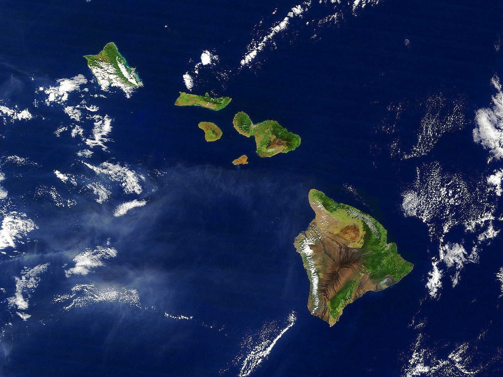 Hawaii From Satellite Wallpapers Hawaii From Satellite Stock Photos - World from satellite