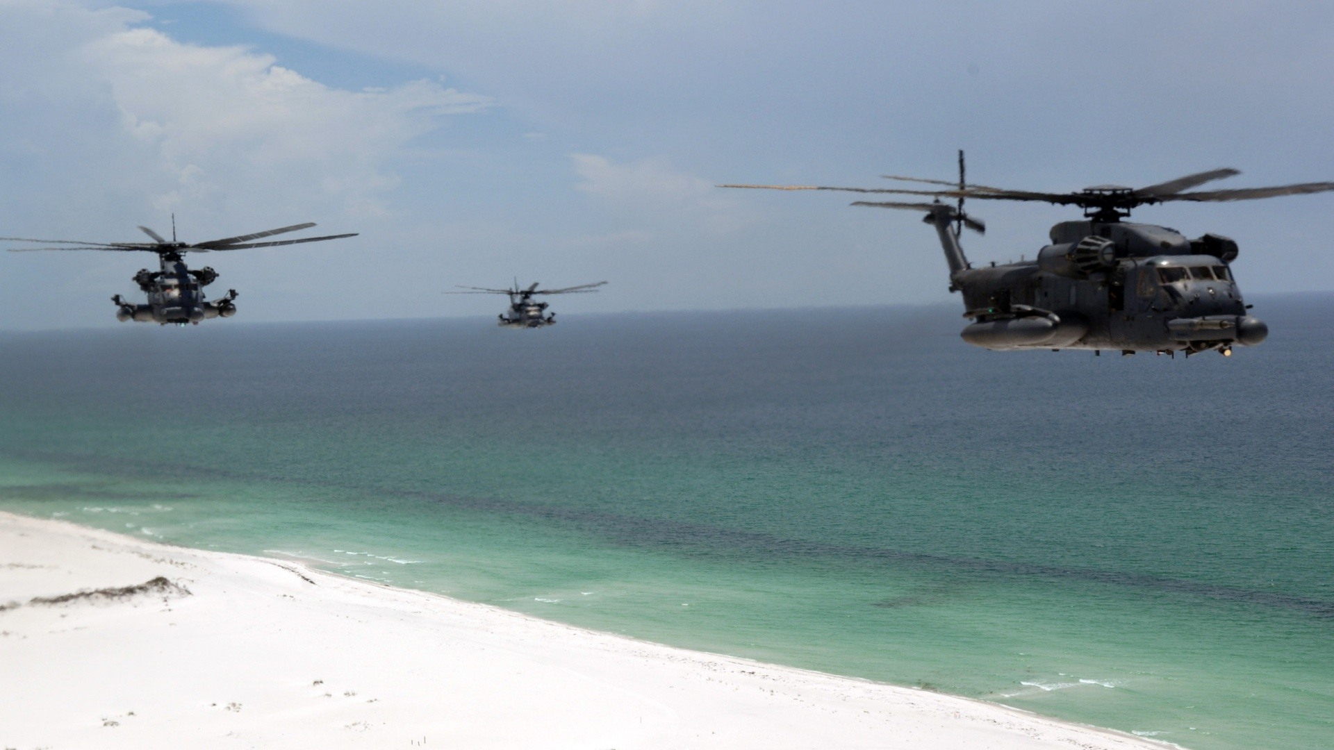 1920x1080 Helicopter, beach, choppers