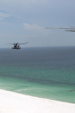 320x480 Helicopter, beach, choppers