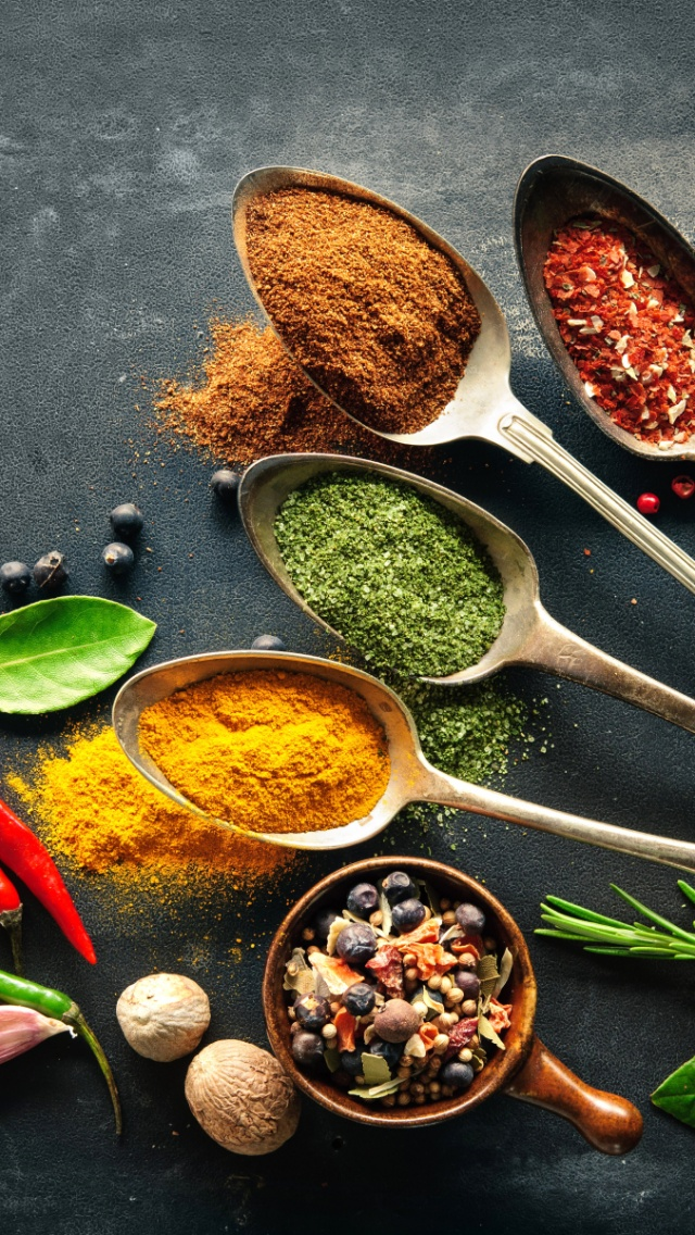 Wallpaper Spice Drops Candy Colorful 4k Lifestyle 7500: 640x1136 Herbs & Spices Spoons Iphone 5 Wallpaper