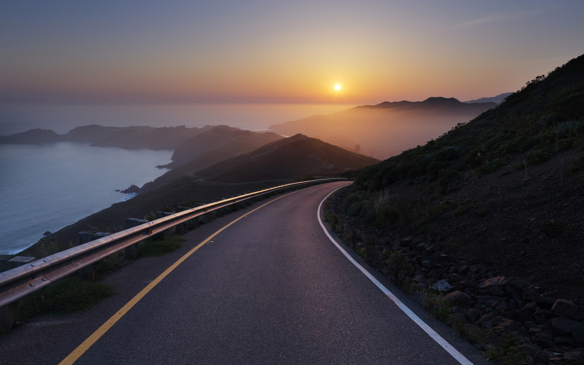 Road Sunset Wallpaper Hills Stones Road Ocea...