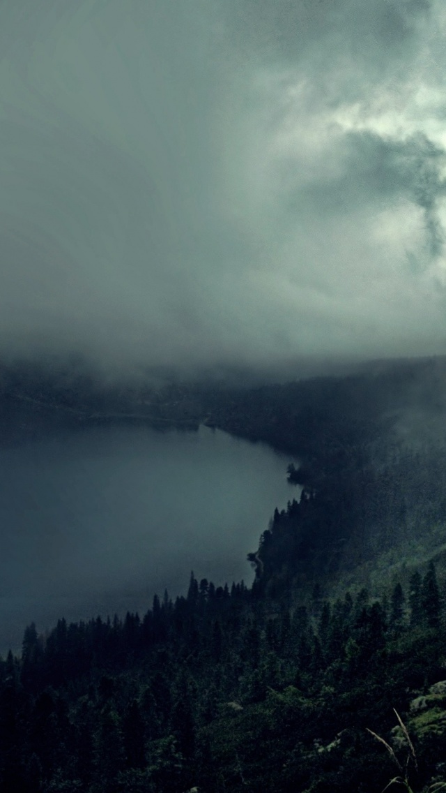 Iphone wallpaper tumblr hd - 640x1136 Hilly Dark Forest River Amp Fog Iphone 5 Wallpaper