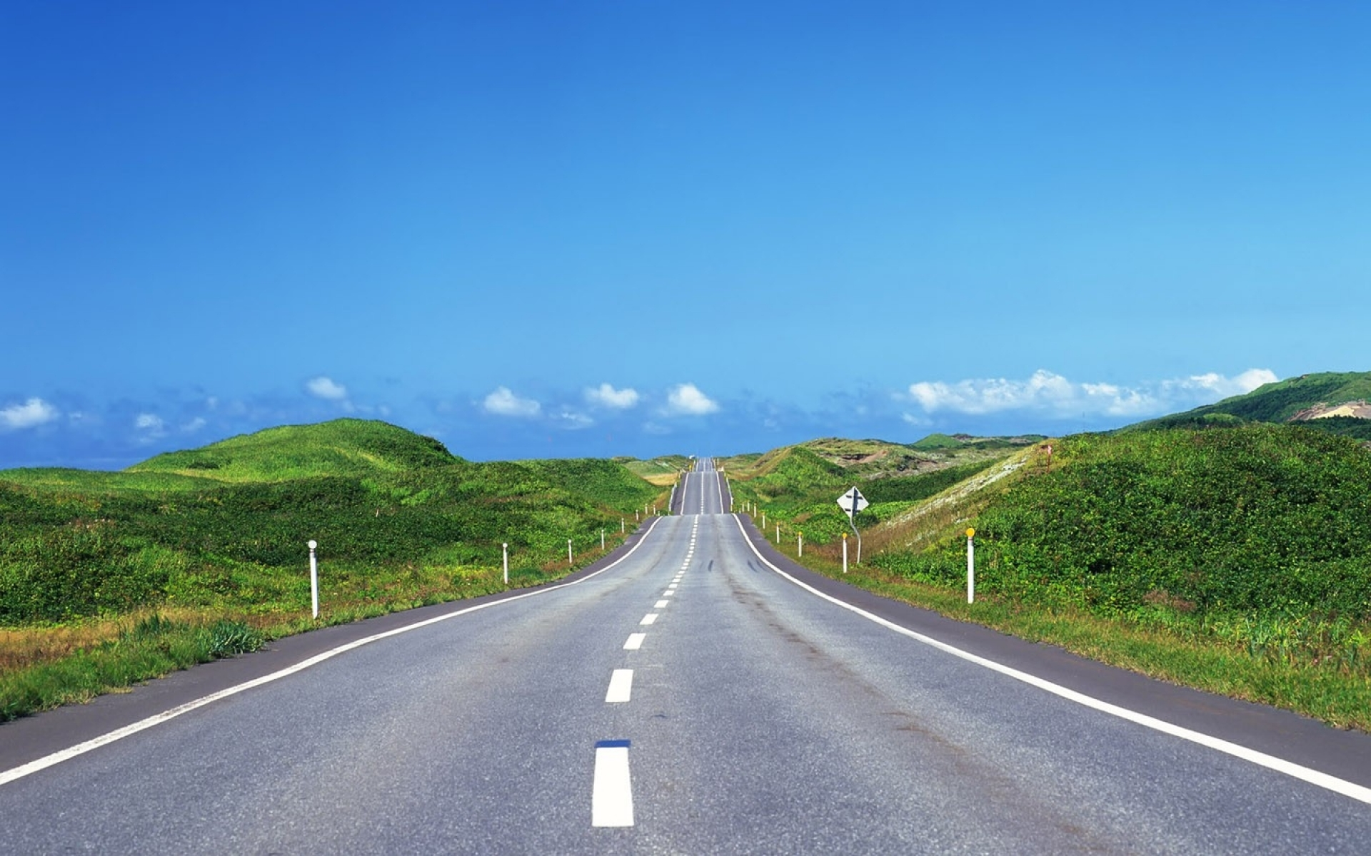 Hilly Road & Grass Green Natur wallpapers | Hilly Road ...
