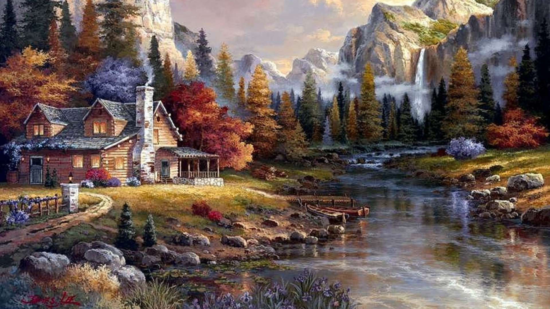 1920x1080 Holiday Cottage Pretty Scenery Desktop PC And Mac Wallpaper