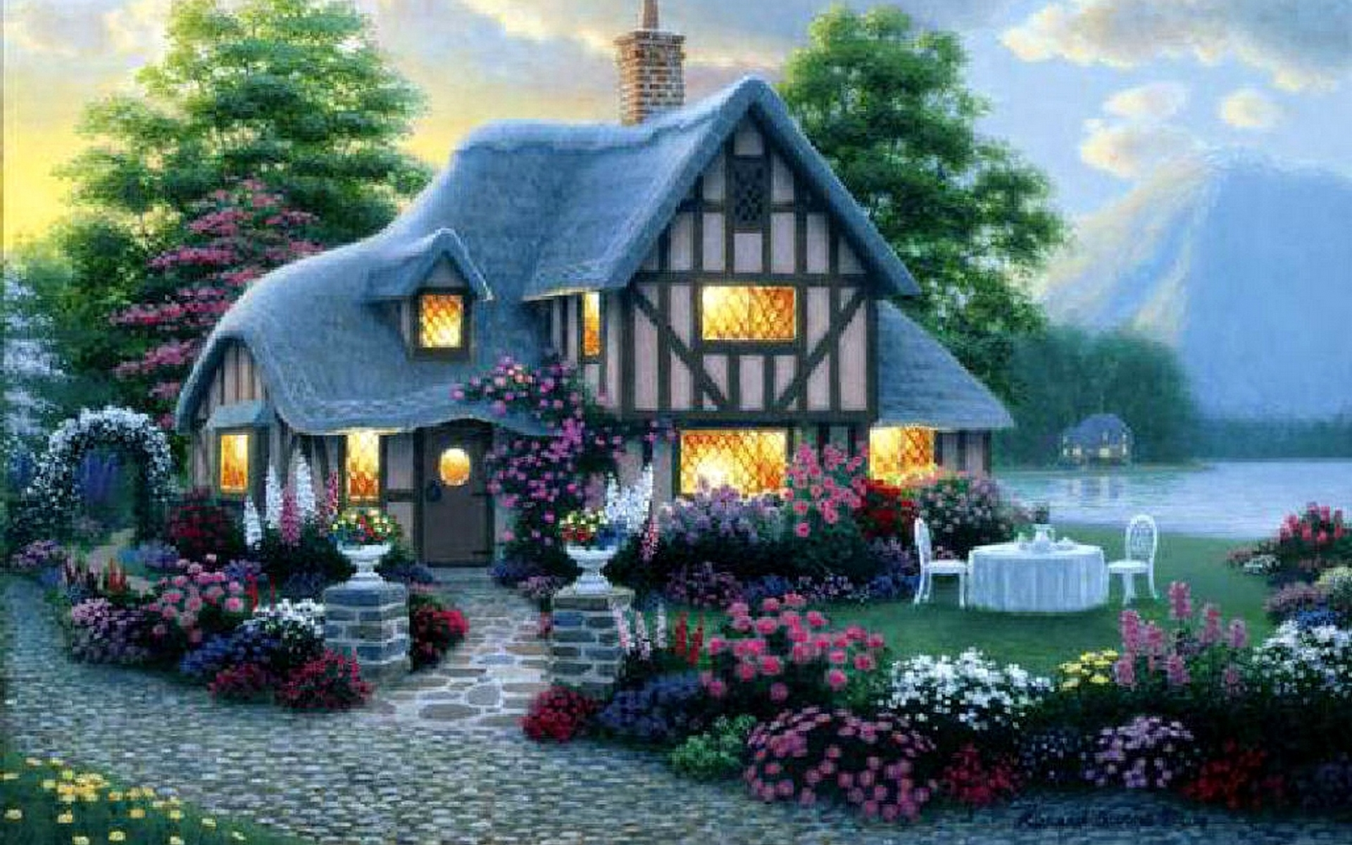 House lights garden flower sea wallpapers house lights for Wallpaper new home