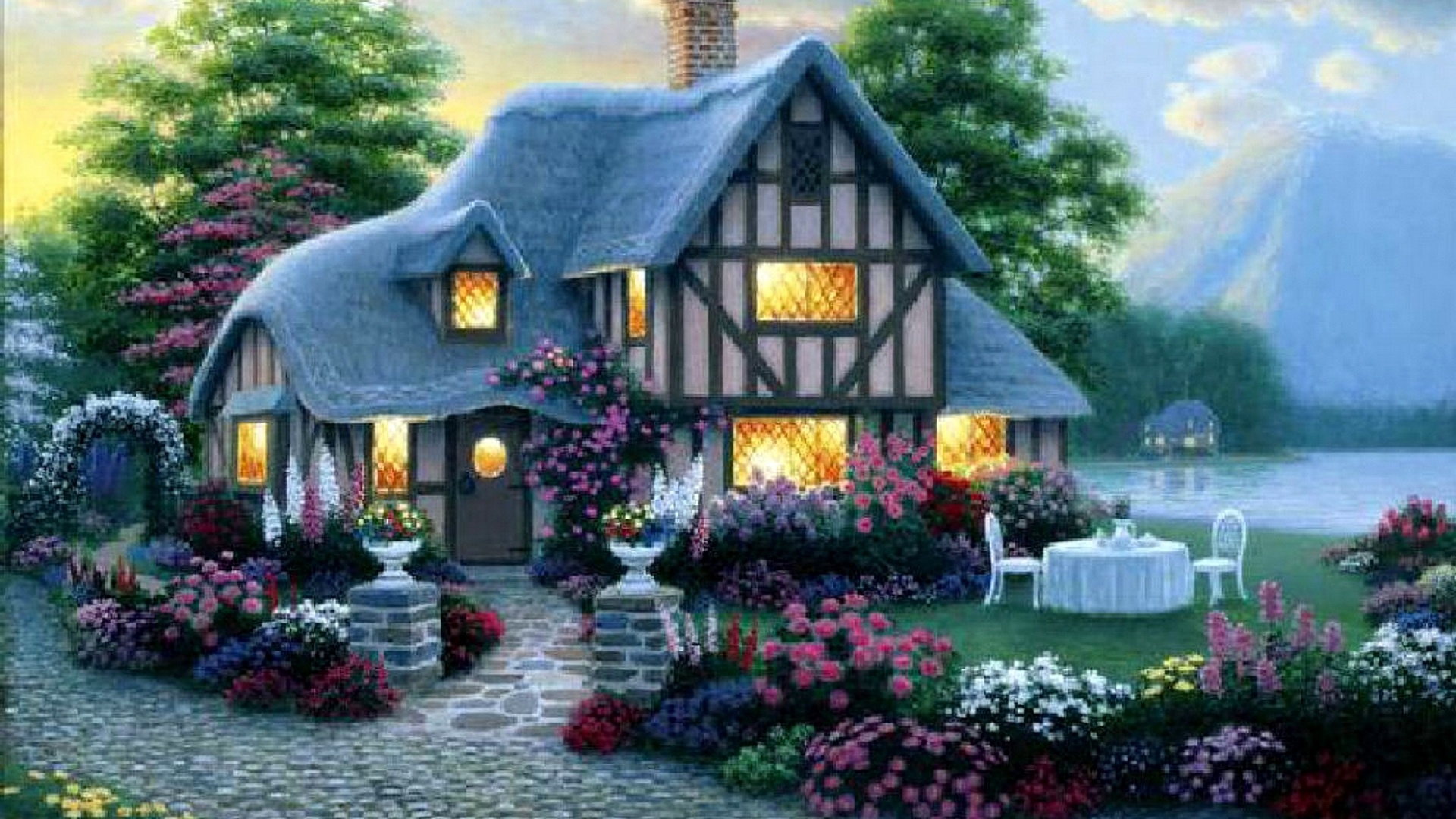 1920x1080 house lights garden flower sea desktop pc and for Classic house with flower garden
