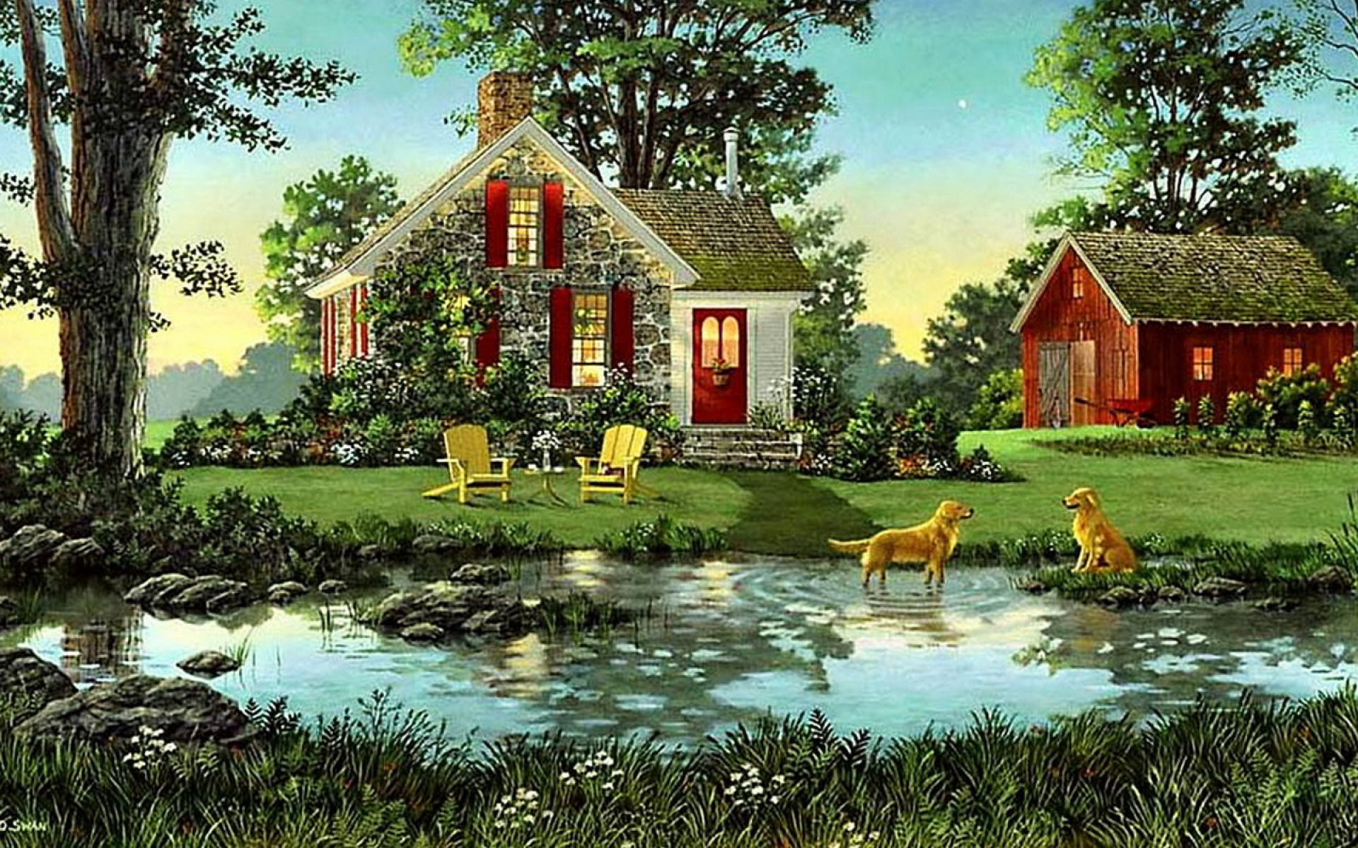 House shed dogs pond nature wallpapers house shed dogs for Wallpaper home photos