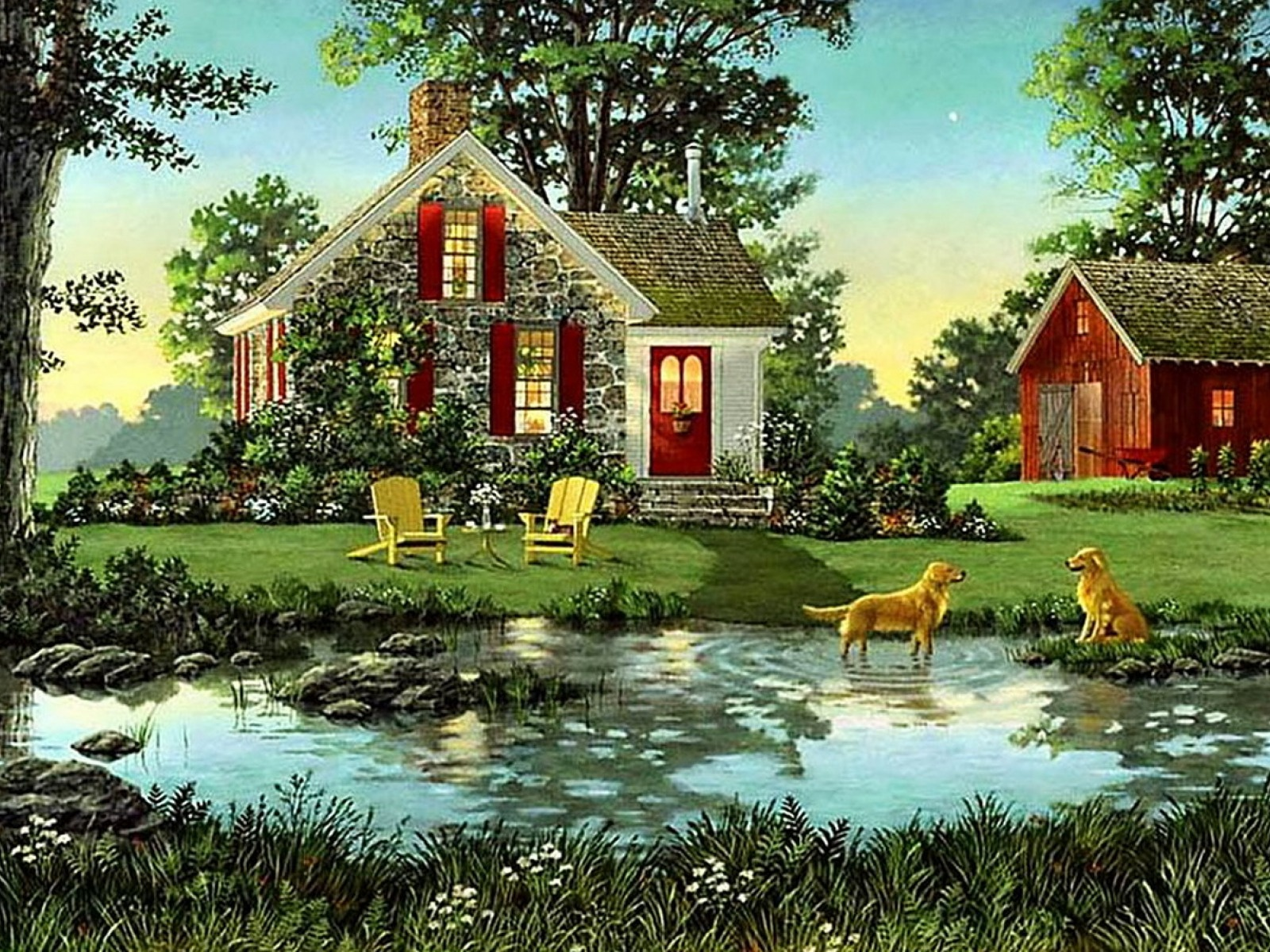 1500x500 house shed dogs pond nature twitter header photo - The pond house nature above all ...