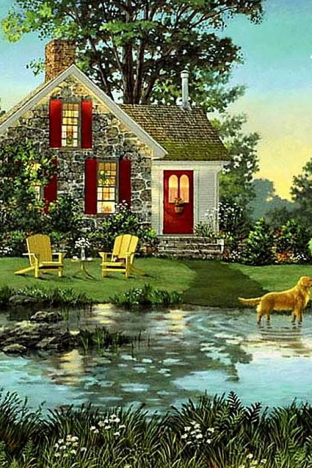 640x960 House Shed Dogs Pond Nature Iphone 4 wallpaper