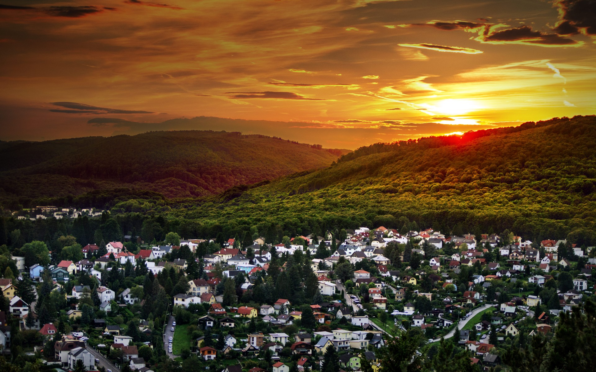 Houses Forest Sunset Austria Wallpapers Houses Forest