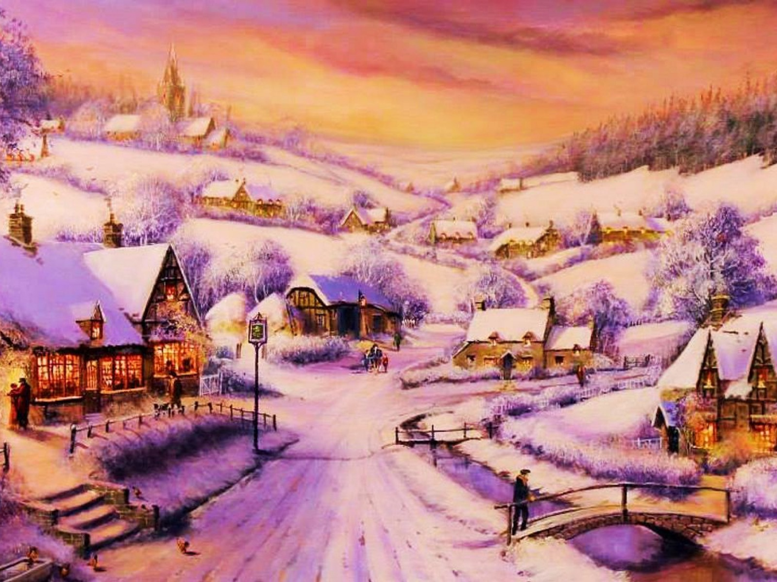 1600x1200 Houses Path Village Winter