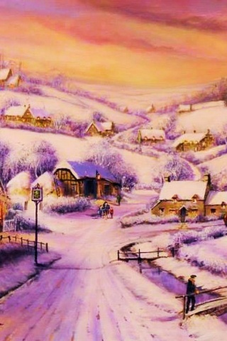 320x480 Houses Path Village Winter