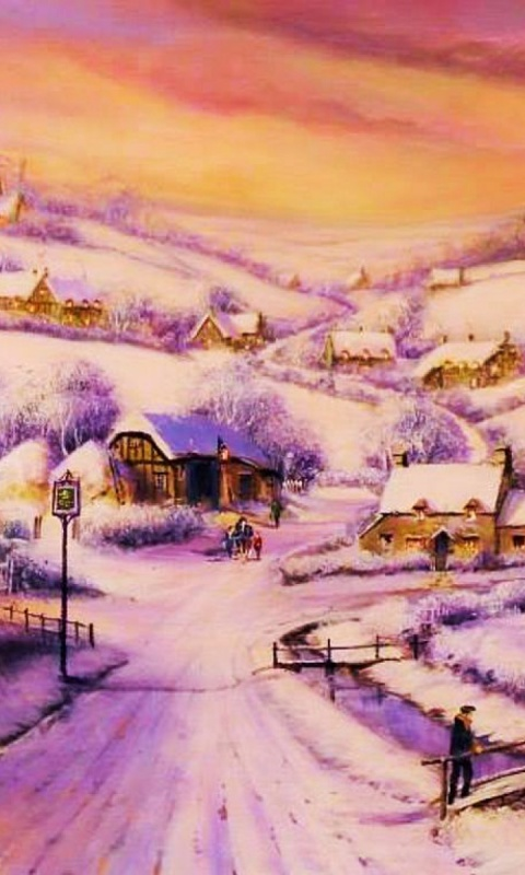 480x800 Houses Path Village Winter