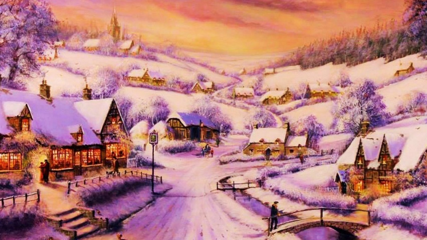852x480 Houses Path Village Winter