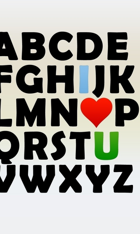 480x800 i love u alphabet galaxy s2 wallpaper