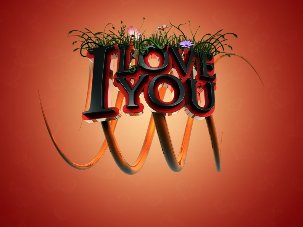 1024x768 I love you 3D desktop Pc and Mac wallpaper