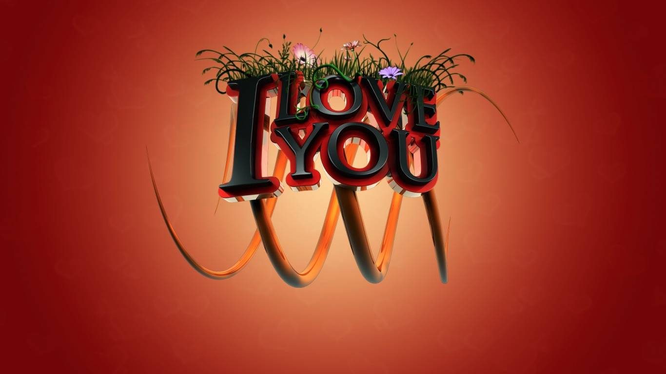 1366x768 i love you 3d desktop pc and mac wallpaper