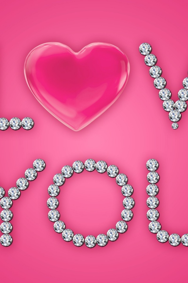 640x960 i love you diamonds pink heart iphone 4 wallpaper
