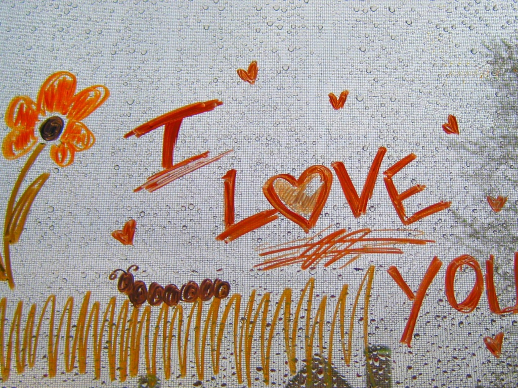 1024x768 I love you drawing desktop Pc and Mac wallpaper