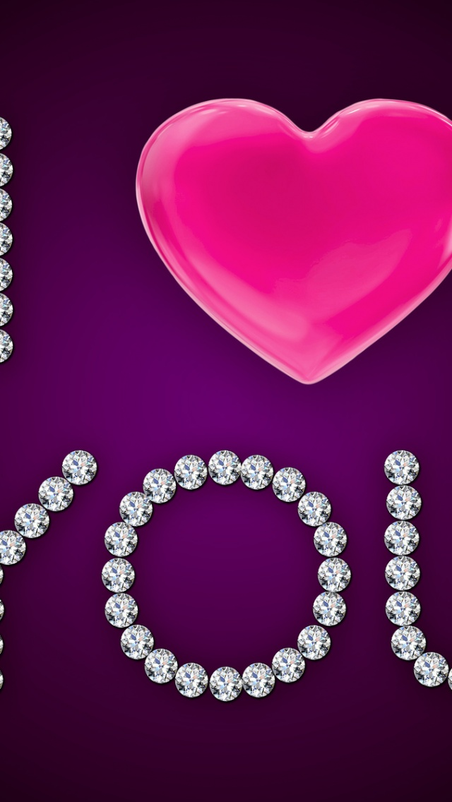 640x1136 I Love You Pink Heart Diamonds Iphone 5 Wallpaper