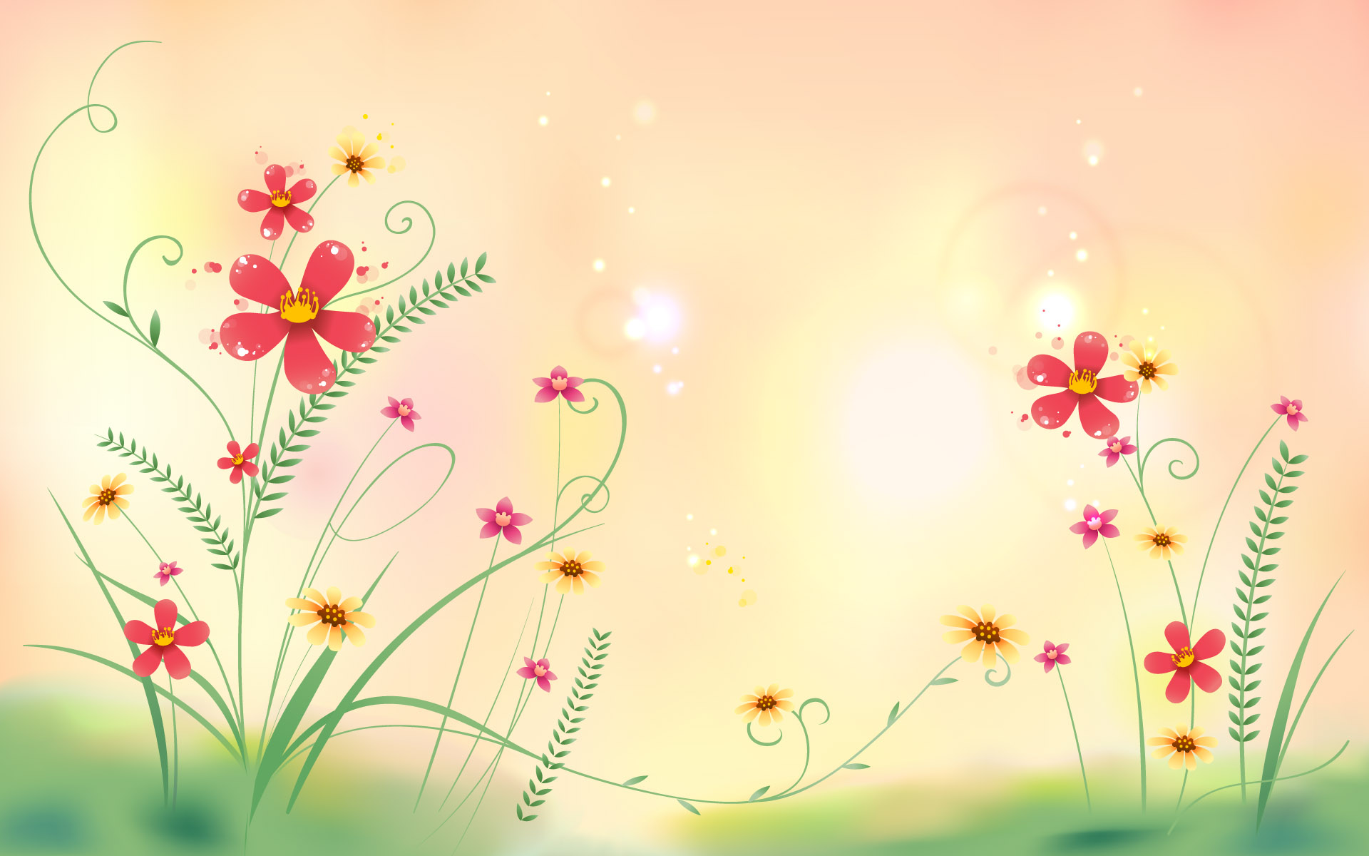 1920x1200 Illustration Abstract Green Floral Desktop Pc And Mac