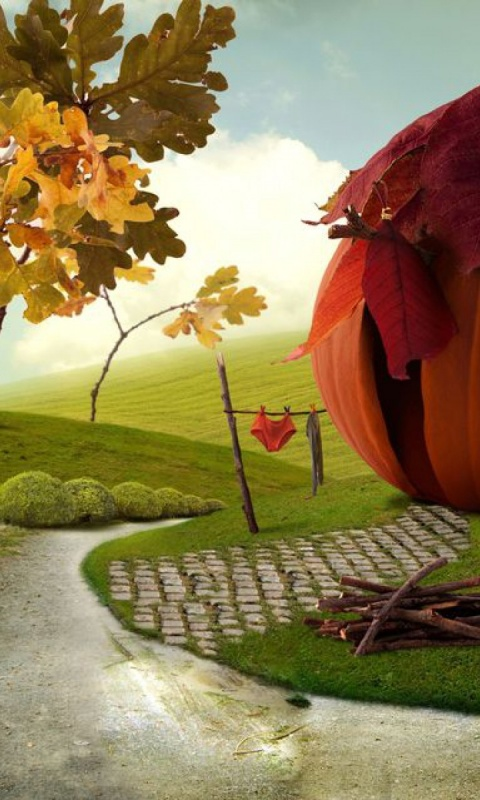 480x800 Imaginative Autumn Scenery