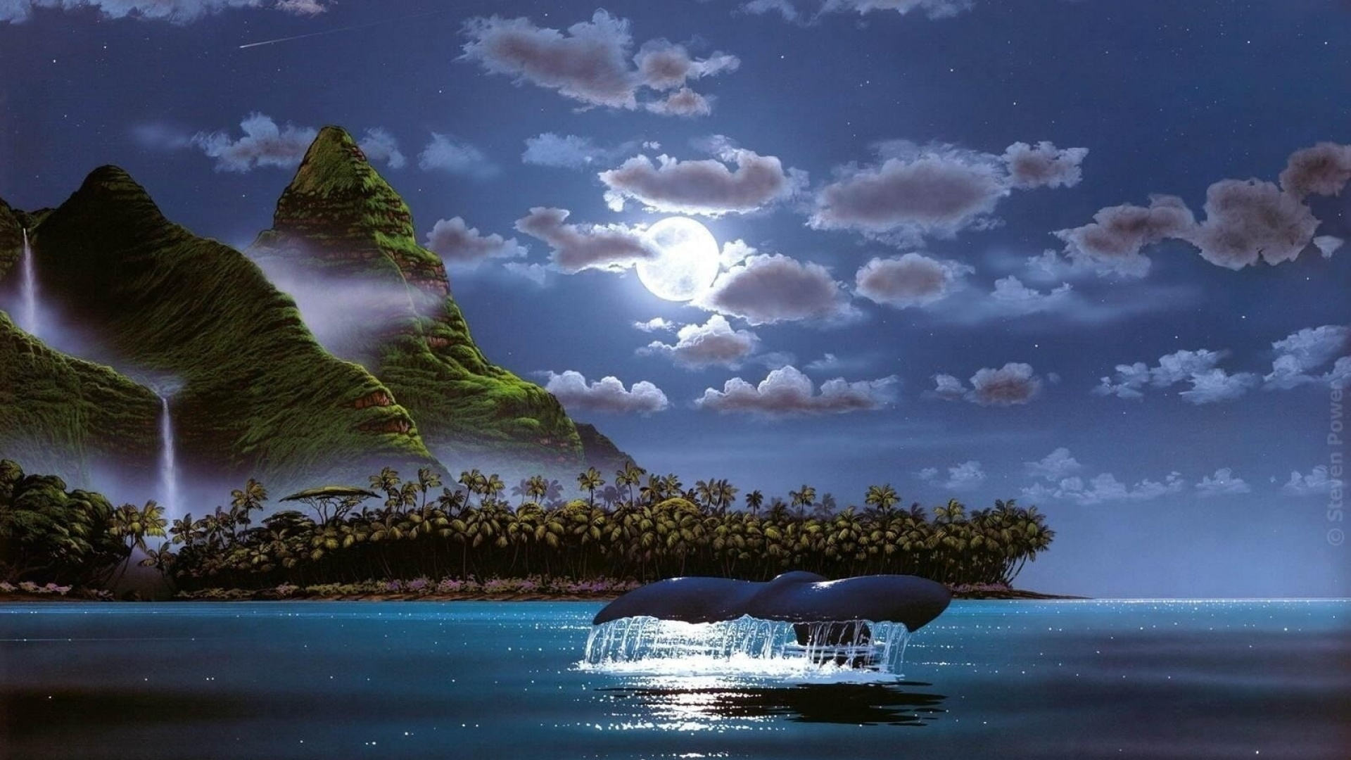 1920x1080 Island Palms Ocean Night Whale Desktop Pc And Mac