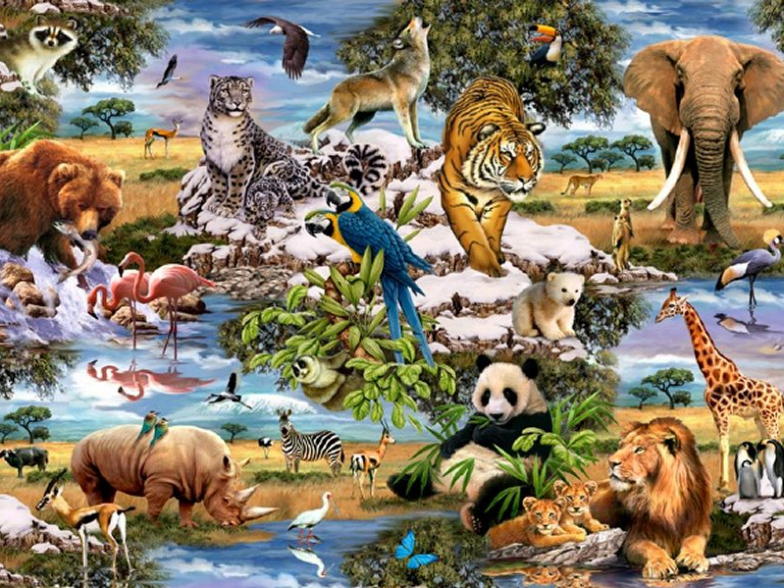 Image of: Desktop Portoalegretravel 1600x1200 Jungle Animals Five Desktop Pc And Mac Wallpaper